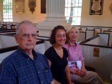 Hal, his granddaughter, Amy, and me sitting in Robert Morris' pew in Philadelphia.