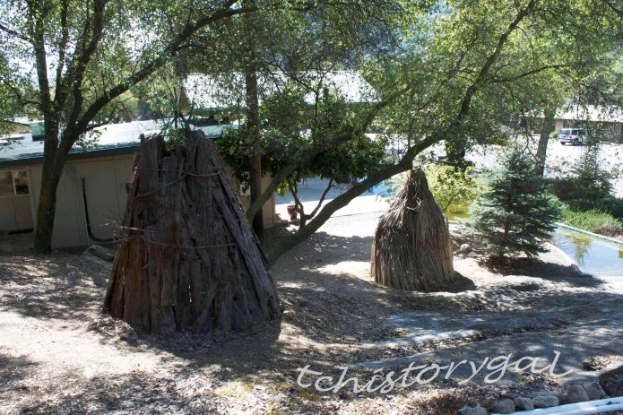 Tule reeds and bark huts.