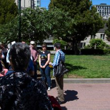 Here Robert has us gathered at Huntington Park across from Grace Cathedral.
