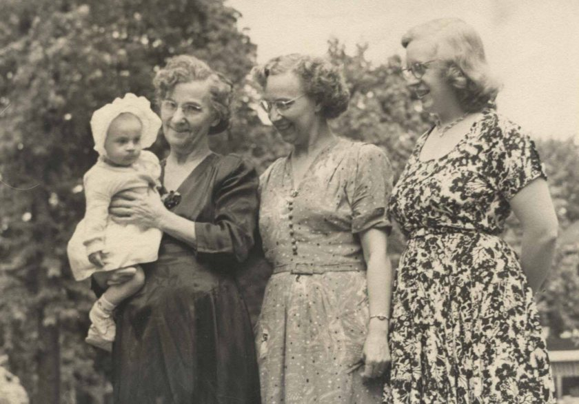 Me, Great-Grandma Martha, Grandma Golda, and Mom Peggy.