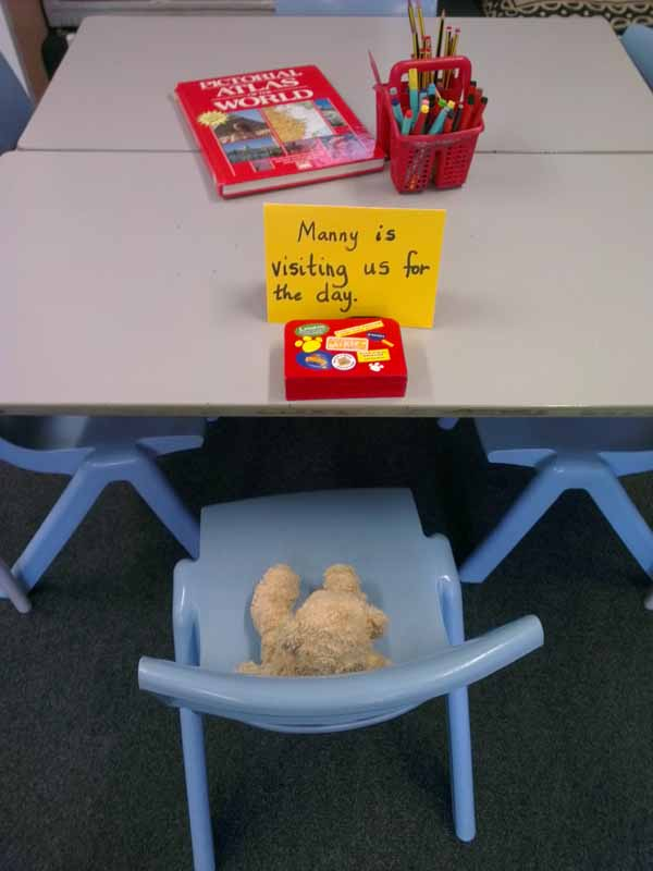 Manny's seat at school