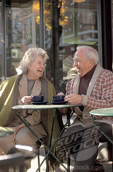 characture older couple having coffee