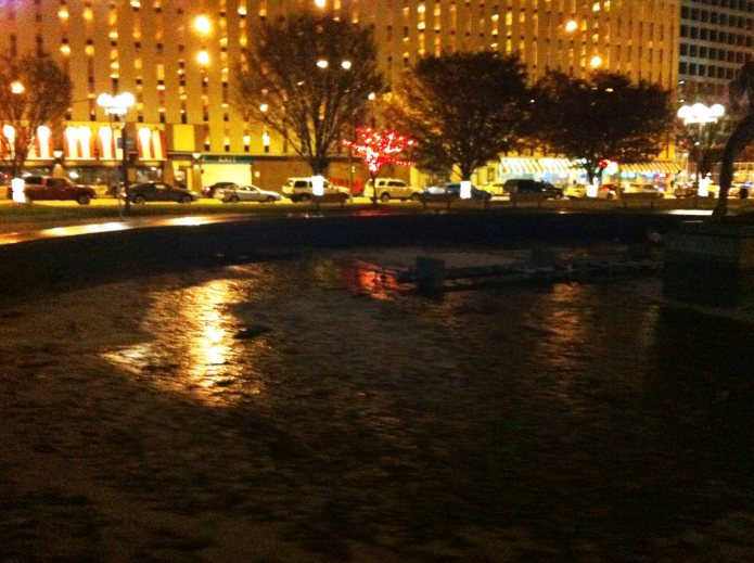 STL lights on icy fountain