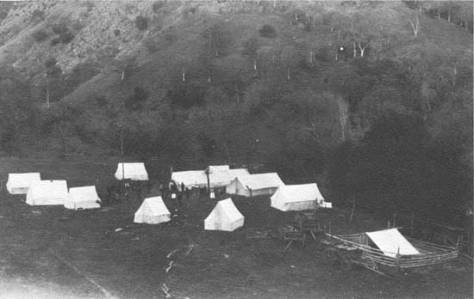 Early tent colony where first Kaweah Colony residents settled.