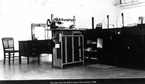 Inside the Bank of America circa 1936.  Courtesy of Woodlake City Hall