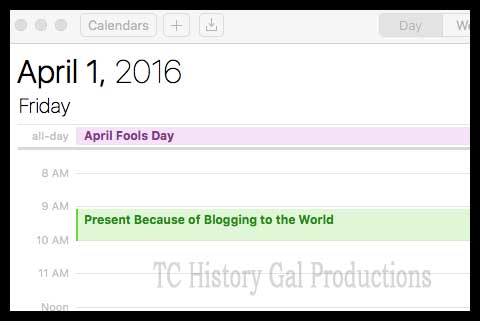 Because of Blogging calendar
