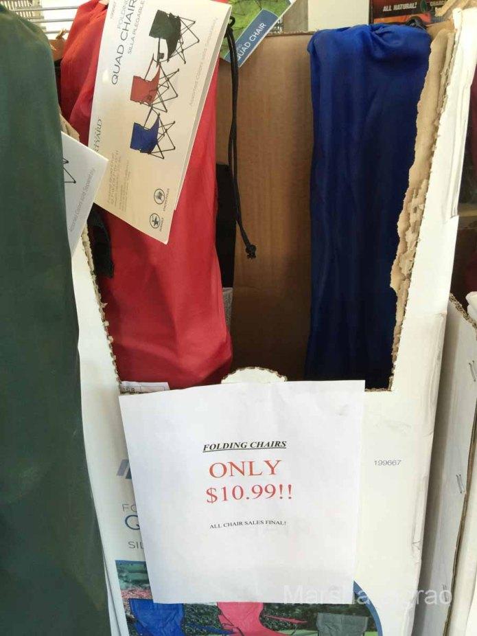 """Buy me, buy me, buy me,"" said the folding chairs."