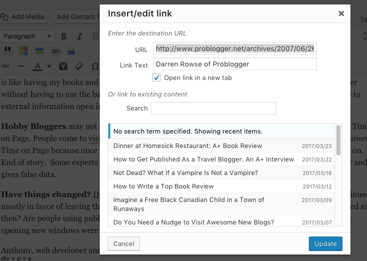 link defaults