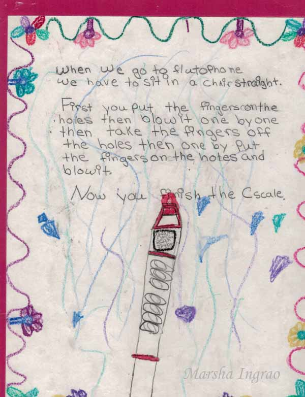 Fourth grade story about playing the flutophone