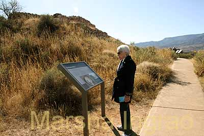 Darlene reading a cliff dwelling marker