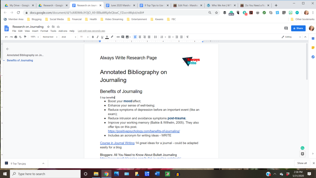 screenshot of Always Write Research Page in Use