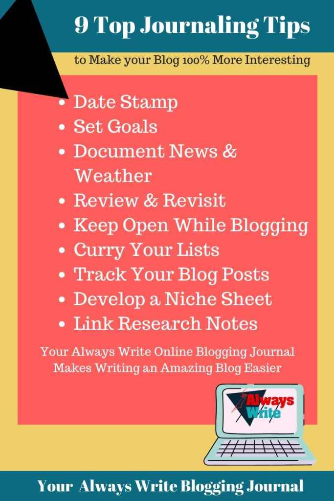 9 tips infographic Date Stamp, set goals, document news and weather, review and revisit, keep open while blogging, curry your lists, track your blog posts, develop a niche sheet, link research notes