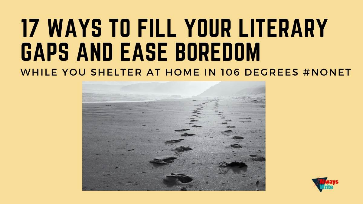 17 Ways to Fill Your Literary Gaps and Ease Boredom While You Shelter At Home in 106 Degrees #Nonet