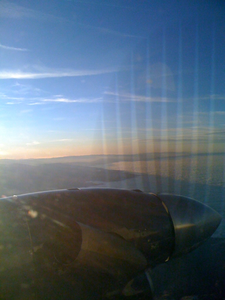 view of propeller from inside the plane as we flew