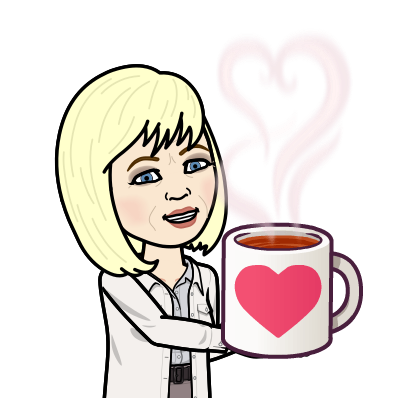 Bitmoji Marsha serving a cup of hot coffee
