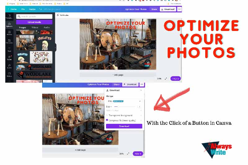 screenshot, optimize photos