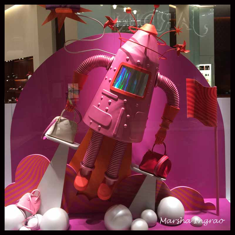 bright pink robot window display in Las Vegas