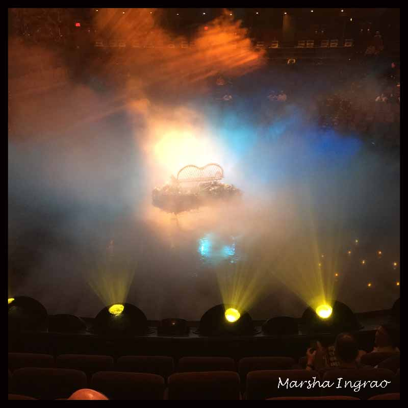 bright lights and mist in Las Vegas show