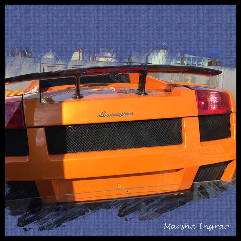 bright orange Lamborghini in Las Vegas