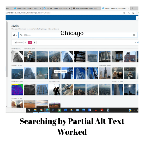 Searching by partial alt text worked.