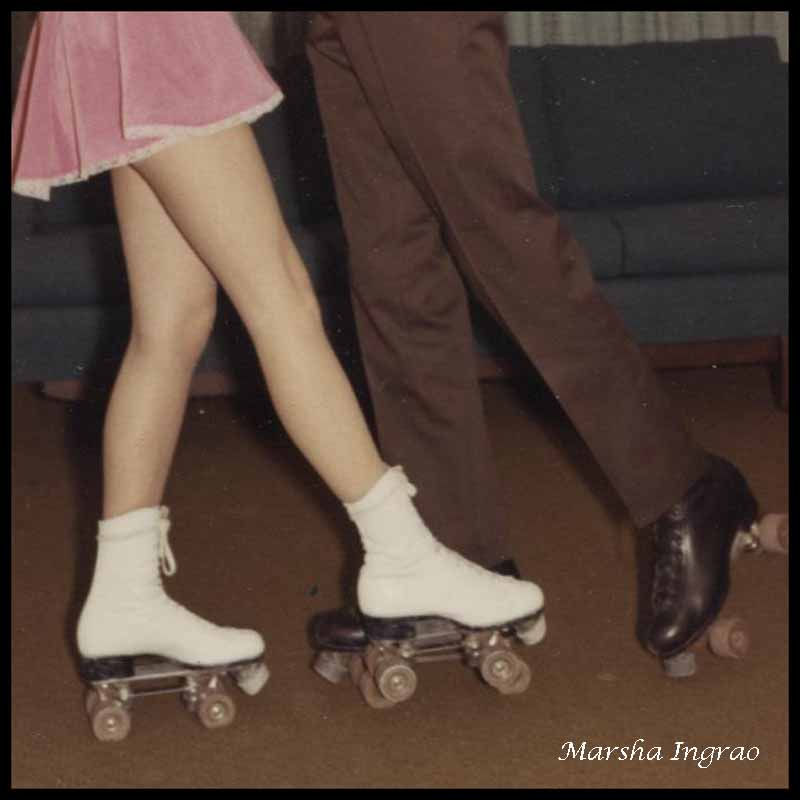 roller skating, living room 1960s Randy, Marsha